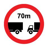 Απαγορεύεται να πλησιάζεται το προπορευόμενο όχημα σε απόσταση μικρότερη των π.χ. 70μ