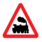 Not controlled level crossing (no barrier/gate)