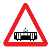Trams crossing ahead