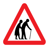 Warning! Elderly people crossing the road