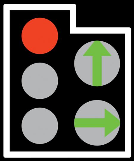 Κόκκινο φανός με πράσινα Βέλη. Η ένδειξη πράσινου φανού με απεικόνιση σχήματος βέλους σημαίνει ότι το όχημα μπορεί να περάσει τη γραμμή στάσης και τους φωτεινούς σηματοδότες και να προχωρήσει προς την κατεύθυνση των βέλων.
