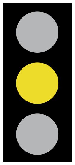 Κίτρινος φανός - Σημαίνει απαγόρευση όπως καί η ένδειξη του κόκκινου ψανού, εκτός αν κατά τη στιγμή της αλλαγής της ένδειξης από πράσινο σε κίτρινο το όχημα βρισκόταν τόσο κοντά στην γραμμή στάσης ή τους φωτεινούς σηματοδότες που καθιστούσε επικίνδυνη τη στάση του οχήματος πριν από τη γραμμή στάσης ή τους φωτεινούς σηματοδότες.